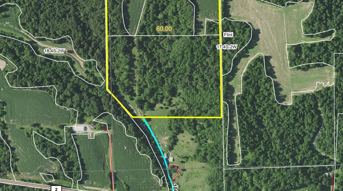 60 acre web aerial with easement